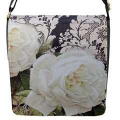 Elegant White Rose Vintage Damask Flap closure messenger bag (Small) by chicelegantboutique