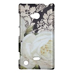 Elegant White Rose Vintage Damask Nokia Lumia 720 Hardshell Case by chicelegantboutique