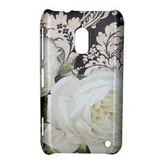 Elegant White Rose Vintage Damask Nokia Lumia 620 Hardshell Case by chicelegantboutique