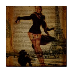 Paris Lady And French Poodle Vintage Newspaper Print Sexy Hot Gil Elvgren Pin Up Girl Paris Eiffel T Ceramic Tile by chicelegantboutique