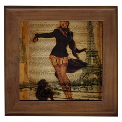Paris Lady And French Poodle Vintage Newspaper Print Sexy Hot Gil Elvgren Pin Up Girl Paris Eiffel T Framed Ceramic Tile by chicelegantboutique