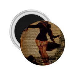 Paris Lady And French Poodle Vintage Newspaper Print Sexy Hot Gil Elvgren Pin Up Girl Paris Eiffel T 2 25  Button Magnet by chicelegantboutique