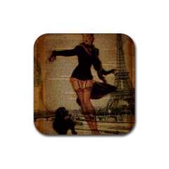 Paris Lady And French Poodle Vintage Newspaper Print Sexy Hot Gil Elvgren Pin Up Girl Paris Eiffel T Drink Coaster (square) by chicelegantboutique