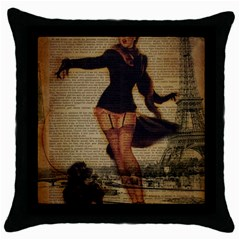 Paris Lady And French Poodle Vintage Newspaper Print Sexy Hot Gil Elvgren Pin Up Girl Paris Eiffel T Black Throw Pillow Case