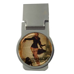 Paris Lady And French Poodle Vintage Newspaper Print Sexy Hot Gil Elvgren Pin Up Girl Paris Eiffel T Money Clip (round) by chicelegantboutique
