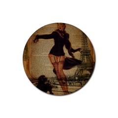 Paris Lady And French Poodle Vintage Newspaper Print Sexy Hot Gil Elvgren Pin Up Girl Paris Eiffel T Drink Coaster (round) by chicelegantboutique