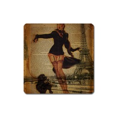 Paris Lady And French Poodle Vintage Newspaper Print Sexy Hot Gil Elvgren Pin Up Girl Paris Eiffel T Magnet (square) by chicelegantboutique