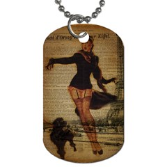 Paris Lady And French Poodle Vintage Newspaper Print Sexy Hot Gil Elvgren Pin Up Girl Paris Eiffel T Dog Tag (one Sided) by chicelegantboutique