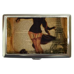 Paris Lady And French Poodle Vintage Newspaper Print Sexy Hot Gil Elvgren Pin Up Girl Paris Eiffel T Cigarette Money Case by chicelegantboutique