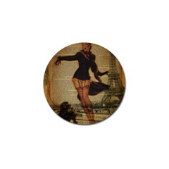 Paris Lady And French Poodle Vintage Newspaper Print Sexy Hot Gil Elvgren Pin Up Girl Paris Eiffel T Golf Ball Marker 10 Pack by chicelegantboutique