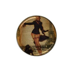 Paris Lady And French Poodle Vintage Newspaper Print Sexy Hot Gil Elvgren Pin Up Girl Paris Eiffel T Golf Ball Marker 4 Pack (for Hat Clip) by chicelegantboutique