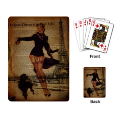 Paris Lady And French Poodle Vintage Newspaper Print Sexy Hot Gil Elvgren Pin Up Girl Paris Eiffel T Playing Cards Single Design by chicelegantboutique