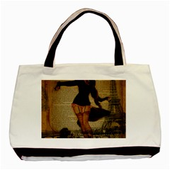Paris Lady And French Poodle Vintage Newspaper Print Sexy Hot Gil Elvgren Pin Up Girl Paris Eiffel T Classic Tote Bag by chicelegantboutique