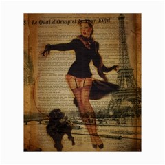 Paris Lady And French Poodle Vintage Newspaper Print Sexy Hot Gil Elvgren Pin Up Girl Paris Eiffel T Canvas 20  X 24  (unframed) by chicelegantboutique