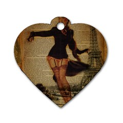 Paris Lady And French Poodle Vintage Newspaper Print Sexy Hot Gil Elvgren Pin Up Girl Paris Eiffel T Dog Tag Heart (one Sided)  by chicelegantboutique