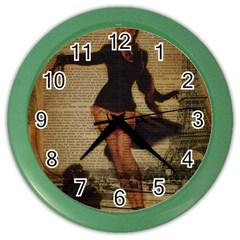 Paris Lady And French Poodle Vintage Newspaper Print Sexy Hot Gil Elvgren Pin Up Girl Paris Eiffel T Wall Clock (color) by chicelegantboutique