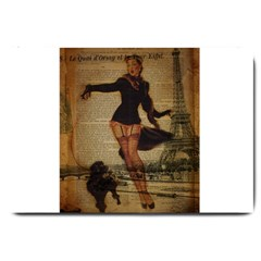 Paris Lady And French Poodle Vintage Newspaper Print Sexy Hot Gil Elvgren Pin Up Girl Paris Eiffel T Large Door Mat by chicelegantboutique