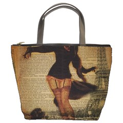 Paris Lady And French Poodle Vintage Newspaper Print Sexy Hot Gil Elvgren Pin Up Girl Paris Eiffel T Bucket Bag by chicelegantboutique