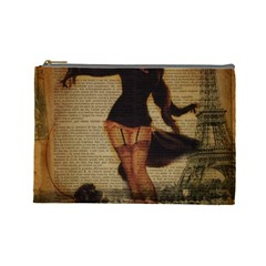 Paris Lady And French Poodle Vintage Newspaper Print Sexy Hot Gil Elvgren Pin Up Girl Paris Eiffel T Cosmetic Bag (large) by chicelegantboutique