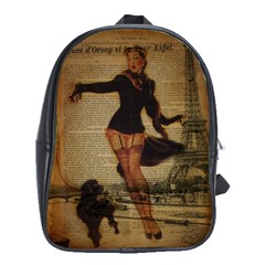 Paris Lady And French Poodle Vintage Newspaper Print Sexy Hot Gil Elvgren Pin Up Girl Paris Eiffel T School Bag (Large) by chicelegantboutique