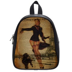 Paris Lady And French Poodle Vintage Newspaper Print Sexy Hot Gil Elvgren Pin Up Girl Paris Eiffel T School Bag (small) by chicelegantboutique