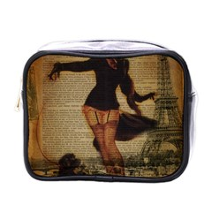 Paris Lady And French Poodle Vintage Newspaper Print Sexy Hot Gil Elvgren Pin Up Girl Paris Eiffel T Mini Travel Toiletry Bag (one Side) by chicelegantboutique