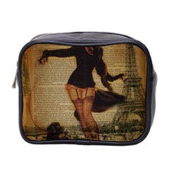 Paris Lady And French Poodle Vintage Newspaper Print Sexy Hot Gil Elvgren Pin Up Girl Paris Eiffel T Mini Travel Toiletry Bag (two Sides) by chicelegantboutique