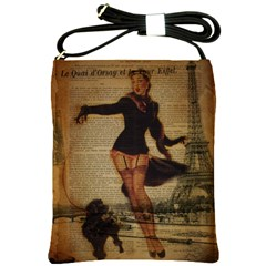 Paris Lady And French Poodle Vintage Newspaper Print Sexy Hot Gil Elvgren Pin Up Girl Paris Eiffel T Shoulder Sling Bag by chicelegantboutique