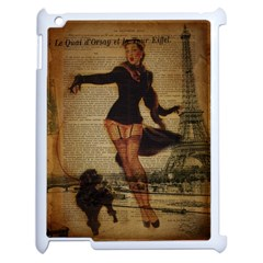 Paris Lady And French Poodle Vintage Newspaper Print Sexy Hot Gil Elvgren Pin Up Girl Paris Eiffel T Apple Ipad 2 Case (white) by chicelegantboutique
