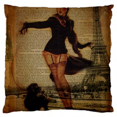Paris Lady And French Poodle Vintage Newspaper Print Sexy Hot Gil Elvgren Pin Up Girl Paris Eiffel T Large Cushion Case (two Sided)  by chicelegantboutique