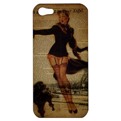 Paris Lady And French Poodle Vintage Newspaper Print Sexy Hot Gil Elvgren Pin Up Girl Paris Eiffel T Apple Iphone 5 Hardshell Case by chicelegantboutique