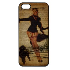 Paris Lady And French Poodle Vintage Newspaper Print Sexy Hot Gil Elvgren Pin Up Girl Paris Eiffel T Apple Iphone 5 Seamless Case (black) by chicelegantboutique
