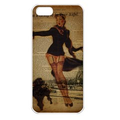 Paris Lady And French Poodle Vintage Newspaper Print Sexy Hot Gil Elvgren Pin Up Girl Paris Eiffel T Apple Iphone 5 Seamless Case (white) by chicelegantboutique