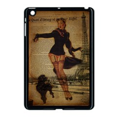 Paris Lady And French Poodle Vintage Newspaper Print Sexy Hot Gil Elvgren Pin Up Girl Paris Eiffel T Apple Ipad Mini Case (black) by chicelegantboutique