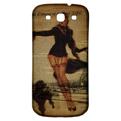 Paris Lady And French Poodle Vintage Newspaper Print Sexy Hot Gil Elvgren Pin Up Girl Paris Eiffel T Samsung Galaxy S3 S Iii Classic Hardshell Back Case by chicelegantboutique