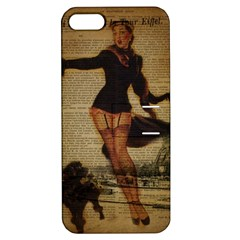 Paris Lady And French Poodle Vintage Newspaper Print Sexy Hot Gil Elvgren Pin Up Girl Paris Eiffel T Apple Iphone 5 Hardshell Case With Stand by chicelegantboutique