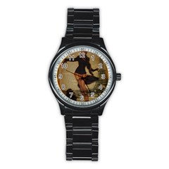 Paris Lady And French Poodle Vintage Newspaper Print Sexy Hot Gil Elvgren Pin Up Girl Paris Eiffel T Sport Metal Watch (black) by chicelegantboutique
