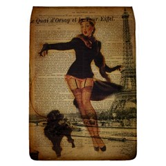 Paris Lady And French Poodle Vintage Newspaper Print Sexy Hot Gil Elvgren Pin Up Girl Paris Eiffel T Removable Flap Cover (large) by chicelegantboutique