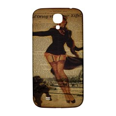 Paris Lady And French Poodle Vintage Newspaper Print Sexy Hot Gil Elvgren Pin Up Girl Paris Eiffel T Samsung Galaxy S4 I9500/i9505  Hardshell Back Case by chicelegantboutique