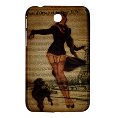 Paris Lady And French Poodle Vintage Newspaper Print Sexy Hot Gil Elvgren Pin Up Girl Paris Eiffel T Samsung Galaxy Tab 3 (7 ) P3200 Hardshell Case  by chicelegantboutique