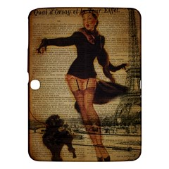 Paris Lady And French Poodle Vintage Newspaper Print Sexy Hot Gil Elvgren Pin Up Girl Paris Eiffel T Samsung Galaxy Tab 3 (10 1 ) P5200 Hardshell Case