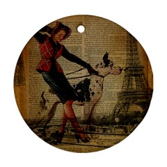 Paris Girl And Great Dane Vintage Newspaper Print Sexy Hot Gil Elvgren Pin Up Girl Paris Eiffel Towe Round Ornament by chicelegantboutique