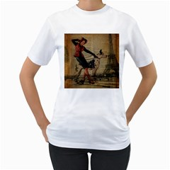 Paris Girl And Great Dane Vintage Newspaper Print Sexy Hot Gil Elvgren Pin Up Girl Paris Eiffel Towe Womens  T Shirt (white) by chicelegantboutique