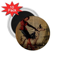 Paris Girl And Great Dane Vintage Newspaper Print Sexy Hot Gil Elvgren Pin Up Girl Paris Eiffel Towe 2 25  Button Magnet (10 Pack) by chicelegantboutique