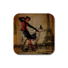 Paris Girl And Great Dane Vintage Newspaper Print Sexy Hot Gil Elvgren Pin Up Girl Paris Eiffel Towe Drink Coaster (Square) by chicelegantboutique
