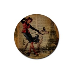 Paris Girl And Great Dane Vintage Newspaper Print Sexy Hot Gil Elvgren Pin Up Girl Paris Eiffel Towe Drink Coaster (round) by chicelegantboutique