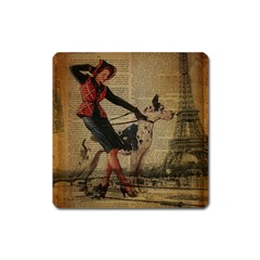 Paris Girl And Great Dane Vintage Newspaper Print Sexy Hot Gil Elvgren Pin Up Girl Paris Eiffel Towe Magnet (square) by chicelegantboutique