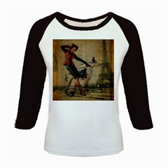 Paris Girl And Great Dane Vintage Newspaper Print Sexy Hot Gil Elvgren Pin Up Girl Paris Eiffel Towe Women s Long Cap Sleeve T Shirt by chicelegantboutique