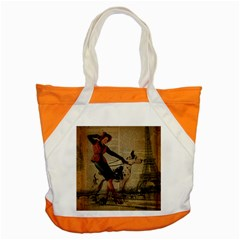 Paris Girl And Great Dane Vintage Newspaper Print Sexy Hot Gil Elvgren Pin Up Girl Paris Eiffel Towe Accent Tote Bag by chicelegantboutique