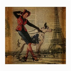 Paris Girl And Great Dane Vintage Newspaper Print Sexy Hot Gil Elvgren Pin Up Girl Paris Eiffel Towe Canvas 16  X 20  (unframed) by chicelegantboutique